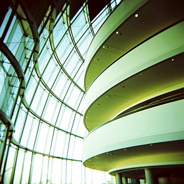 Interior view of balconies and windows, The Sage Music Hall, Gateshead, Tyne and Wear, England, United Kingdom, Europe