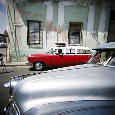 Old American cars operating as private taxis, Havana, Cuba, West Indies, Central America
