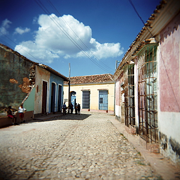 Street scene with colourful houses, Trinidad, Cuba, West Indies, Central America