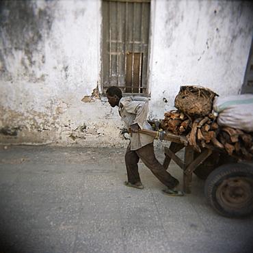 Man pulling cart along narrow street, Stone Town, Zanzibar, Tanzania, East Africa, Africa