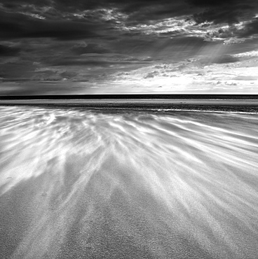 Sand blowing across the beach, Alnmouth, Alnwick, Northumberland, England, United Kingdom, Europe