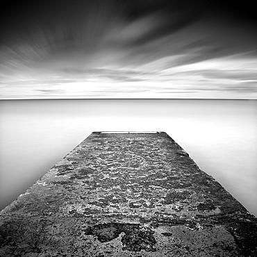 Concrete jetty on Blyth Beach, Northumberland, England, United Kingdom, Europe