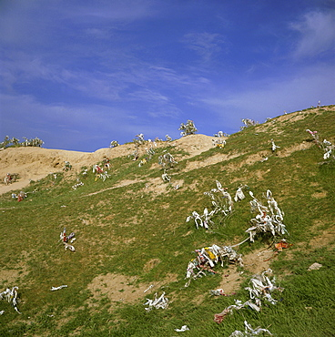 Pieces of cloth tied on hilltop by women to ask for a son, Nyrato, Uzbekistan, Central Asia, Asia