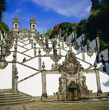 Ornamental stairway, Bom Jesus Church, near Braga, Minho, Portugal