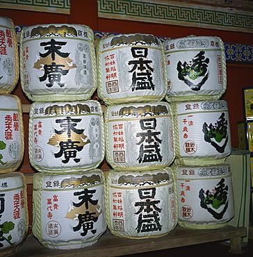 Sake drums, Tosho-gu Shrine, Nikko, Honshu, Japan, Asia