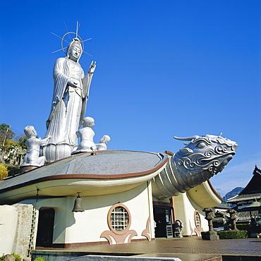 Fukusai-ji Zen Temple, 18m high goddess Kannon on turtle, Nagasaki, Japan