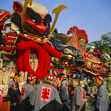 Men in festival robes, Karatsu Okunchi Festival, Karatsu, Kyushu, Japan