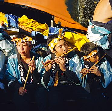 Musicians in festival robes, Karatsu Okunchi Festival, Karatsu, Kyushu, Japan