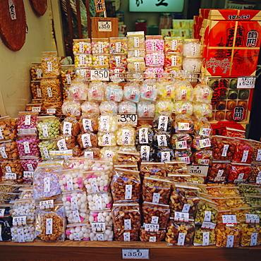 Gift food boxes, Nakamisa-dori market, Asakusa, Tokyo, Japan