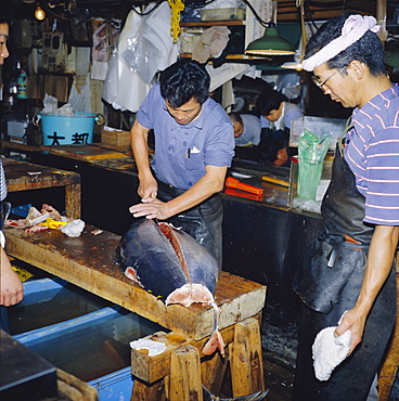 Cutting tuna fish, morning fish market, Tsukiji, Tokyo, Japan