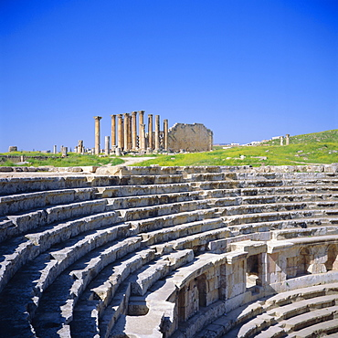Temple of Artemis and North Theatre, 1st and 2nd centuries AD, of the Roman Decapolis city, Jerash, Jordan, Middle East
