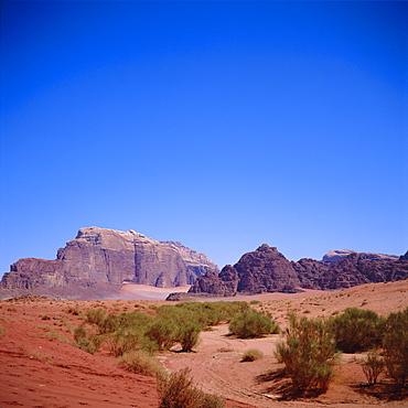 Jabal Rum, desert landscape in Southern Jordan, Wadi Rum, Jordan, Middle East