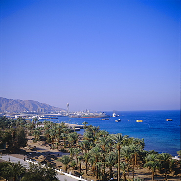 View over Red Sea port, Aqaba, Jordan, Middle East