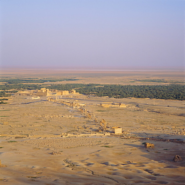View over Graeco-Roman city towards Roman Temple of Bel, 45 AD, Palmyra, Syria, Middle East