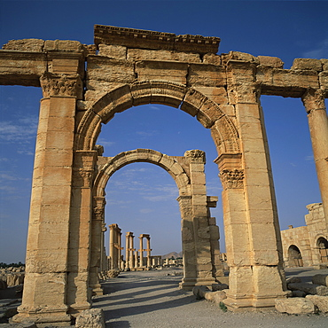The entrance to the Roman Amphitheatre dating from the 1st century AD, at the ancient Graeco-Roman city of Palmyra, UNESCO World Heritage Site, Syria, Middle East