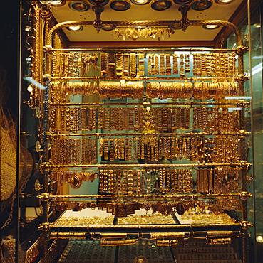 Gold stall, Hamadiyyeh Souk, Damascus, Syria, Middle East