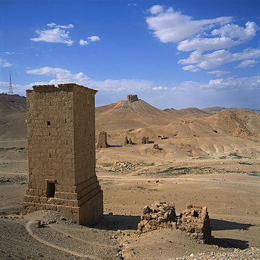 View over the Palmyrene Tower Tombs, multi-storey burial chambers dating from the 1st and 2nd centuries AD, at the ancient Graeco-Roman city of Palmyra, UNESCO World Heritage Site, Syria, Middle East