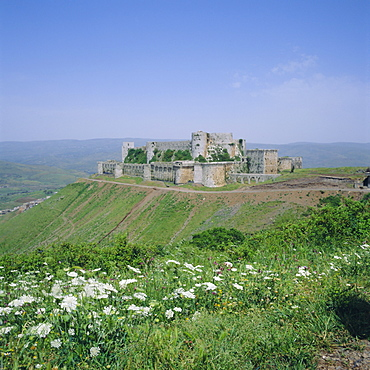 Crac des Chevaliers, Crusader castle, 1150-1250, built by the Knights Hospitaller, Syria, Middle East