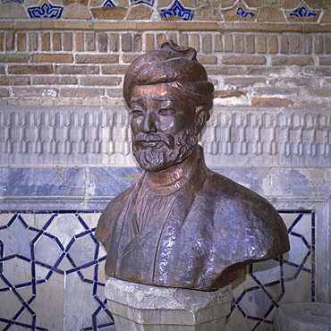Bust of Ulugbek, Timurid ruler and astronomer, died 1449, Samarkand, Uzbekistan, Central Asia, Asia