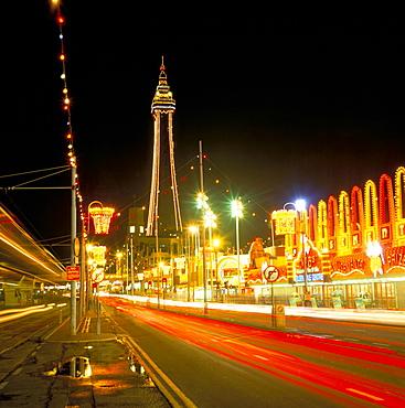 Blackpool Tower and illuminations, Blackpool, Lancashire, England, United Kingdom, Europe
