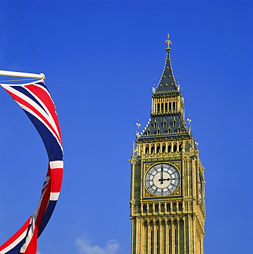 Big Ben and Union Jack, Westminster, London, England, United Kingdom, Europe