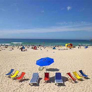 Deckchairs on Bondi Beach, Sydney, New South Wales, Australia, Pacific