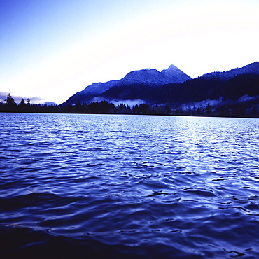 Water, trees, and mountains viewed from the waters of Lake Quinault, Olympic National Park, UNESCO World Heritage Site, Washington State, United States of America, North America