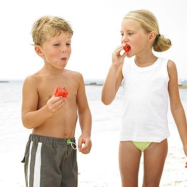 Boy and girl (6-8) on beach eating watermelon