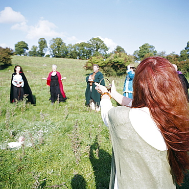 Druid Equinox ceremony on the Hill of Uisneach, County Westmeath, Leinster, Republic of Ireland (Eire), Europe