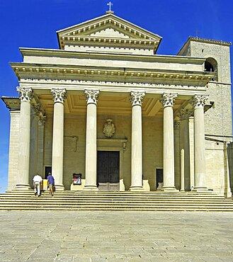 Republic of San Marino, San Marino City, Cathedral facade.