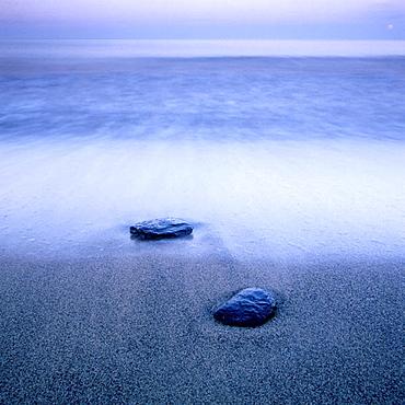 Pieces of alum shale on the beach, Baltic Sea, Skane, Sweden, Scandinavia