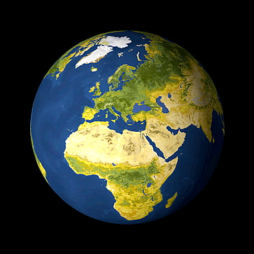 AVHRR satellite image globe of Europe, Africa, the Middle East and the world