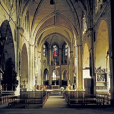 D-Muenster, Westfalen, Muensterland, Nordrhein-WestfalenW, Sankt Paulus-Dom, katholische Kirche, Innenansicht, Langhaus, Chor, D-Muenster, Westphalia, Muensterland, North Rhine-WestphaliaW, Saint Paul Cathedral, catholic church, interior view, nav