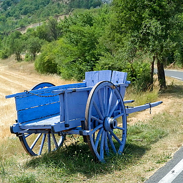 Ancient blue horse cart, Vaucluse, Provence, France