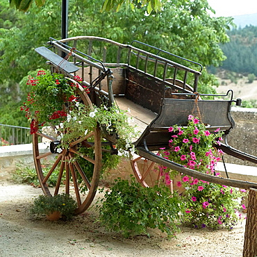 Ancient horse cart with flowers, Monieux, Vaucluse, Provence, France