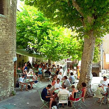 Restaurant terrace, Gordes, Vaucluse, Provence, France.