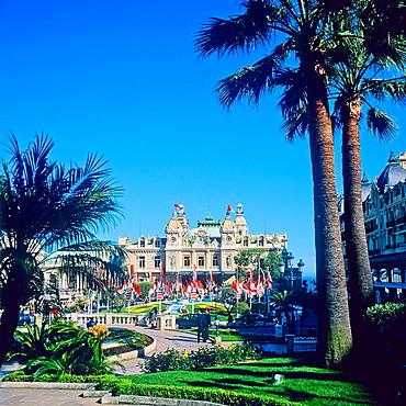Casino and palm trees, Monte Carlo, Principality of Monaco