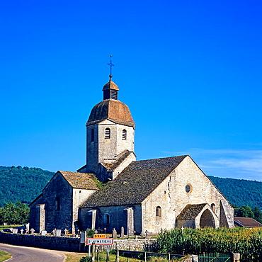 Romanesque church 11th century, 'Ste Marie de St Hymetière', Jura, France