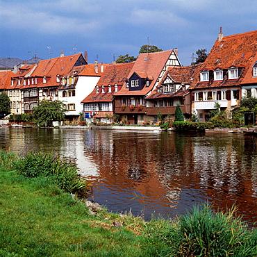 Germany, Bamberg, Regnitz, Main-Danube Canal, Franconia, Bavaria, Regnitz promenade
