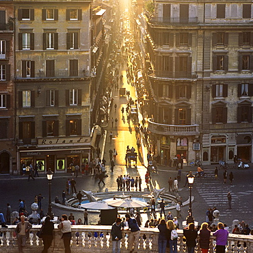Via dei Condotti street at sunset, Rome, Italy