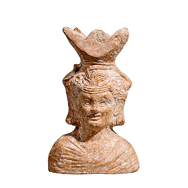 A Roman Terracotta Censer in the form of a bust of Dionysus.