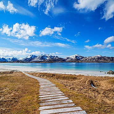 Wooden walkway leading to Ramberg Beach, Ramberg, Flakstadoy, Lofoten Islands, Norway.