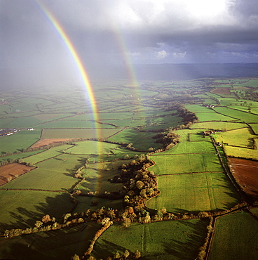 Aerial image of a double rainbow over the Somerset Levels, Somerset, England, United Kingdom, Europe