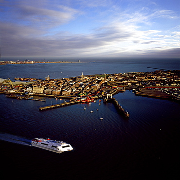 Aerial view of Harwich International Port, one of the Haven ports, Essex, England, United Kingdom, Europe