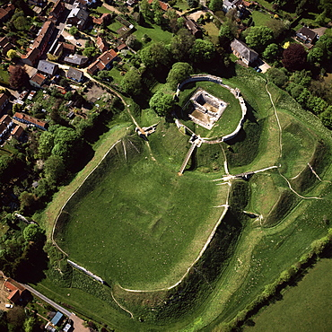 Aerial view of Castle Acre, remains of a motte and bailey castle with extensive earthworks, Castle Acre, Norfolk, England, United Kingdom, Europe