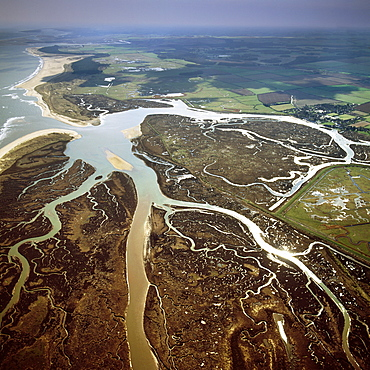Aerial view of salt marsh at Burnham Overy Staithe, Norfolk, England, United Kingdom, Europe