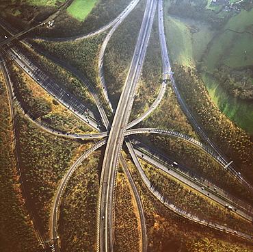 Aerial image of M25 and M23 Motorway Junction, Surrey, England, United Kingdom, Europe