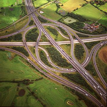 Aerial image of M25 and M11 Motorway Junction, Essex, England, United Kingdom, Europe