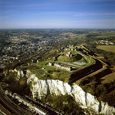 Aerial image of Dover Castle over the white Cliff of Dover, Kent, England, United Kingdom, Europe