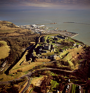 Aerial image of Dover Castle with Dover Harbour beyond, Kent, England, United Kingdom, Europe